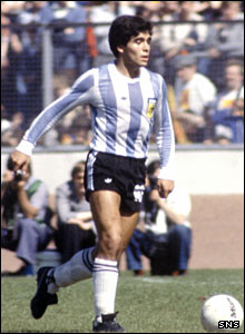 Diego Maradona in action at Hampden  in 1979