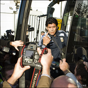 Diego Maradona arrives at Glasgow Airport