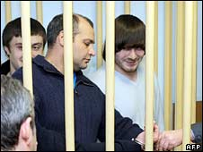 (From left to right): Suspects Ibragim Makhmudov, Sergey Khadzhikurbanov and Dzhabrail Makhmudov in court