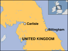 Map showing Carlisle and Billingham