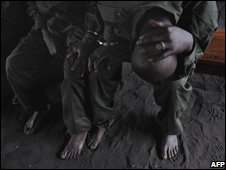 A Congolese soldier sentenced to life in prison at a military court in Goma, 17 November 2008