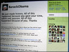 Obama twitter page