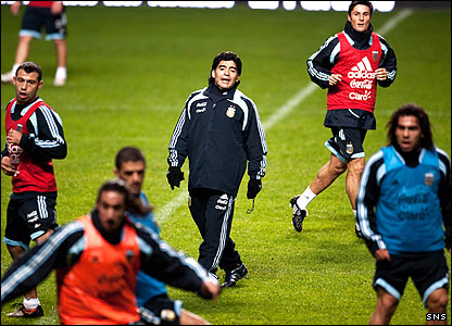 Maradona is at the centre of things as he takes charge of a seven-a-side match during a training session at Celtic Park