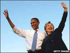 Barack Obama and Hillary Clinton at rally, 20 October 2008
