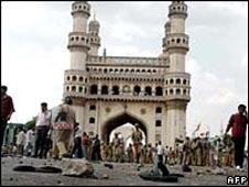 Char Minar gate near Mecca Masjid in Hyderabad