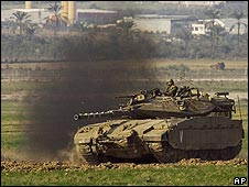 |Israeli tank at Gaza border - November 2008