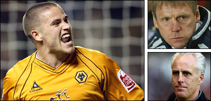 Michael Kightly, England under-21 coach Stuart Pearce and Wolves boss Mick McCarthy