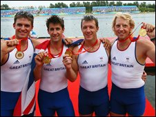 Tom James (second from left) shows his gold with Pete Reed, Steve Williams and Andrew Hodge