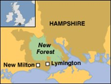 Map of the New Forest in Hampshire
