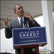 Barack Obama at petrol pump
