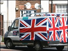 A BNP campaign vehicle in Sunderland