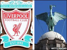 LFC badge and Liver Bird on the Liver Building