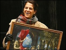 "Tracey Emin holds a reproduction of Titian""s painting ""Diana and Actaeon"" on the steps of Number 10 Downing Street"