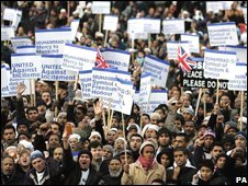 Muslims in London protest against cartoons of Prophet Muhammad published by a Danish newspaper (2006)