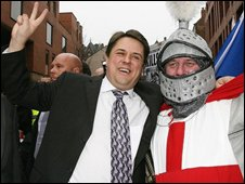 BNP leader Nick Griffin [left] with a supporter