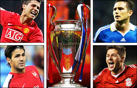 Clockwise from top left: Cristiano Ronaldo, the Champions League trophy, Frank Lampard, Steven Gerrard and Cesc Fabregas