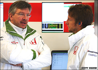 Honda team boss Ross Brawn and Jenson Button
