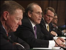 From left, Ford CEO Alan Mulally, Chrysler CEO Robert Nardelli and GM CEO Rick Wagoner during a Senate hearing in Washington, 18 November 2008