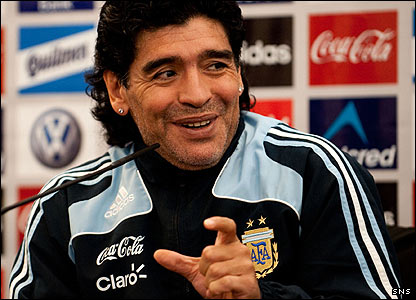 Diego Maradona at the pre-match media conference