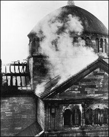 Fasanenstrasse Synagogue in Berlin after it was set on fire during the Kristallnacht riots
