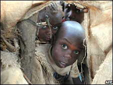 Sudanese refugee children from Darfur at a refugee camp