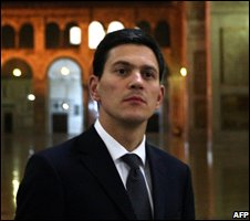 David Miliband on a tour of the Umayyad Mosque in Damascus