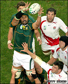 Victor Matfield takes yet another line-out in last year's World Cup final