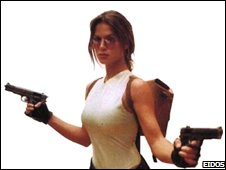 Rhona Mitra as Lara Croft in 1996