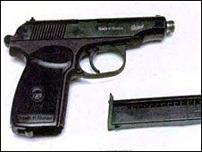 The Russian Baikal pistol found in the youth's home