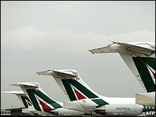 Alitalia planes parked at Fiumicino Airport, Rome, on 12 September