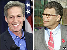 Norm Coleman (left) and Al Franken (right)