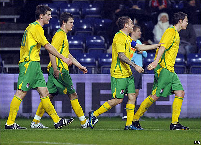 Craig Bellamy celebrates his goal with his Wales team-mates