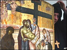 Greek nun with painting
