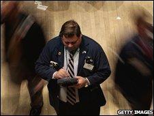 A New York stock exchange trader, 19 November 2008
