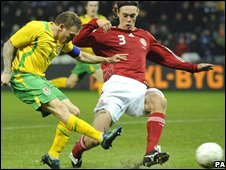 Craig Bellamy scores his 77th-minute winner against Denmark