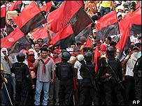 Manifestación en apoyo al FSLN