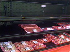 Kosher meat shelf at a New York grocery