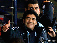 Argentina manager Diego Maradona gives the thumbs-up sign