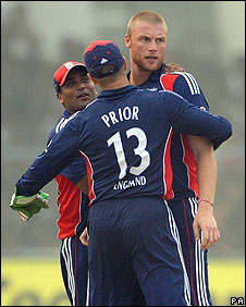 Andrew Flintoff celebrates after removing Yuvraj Singh