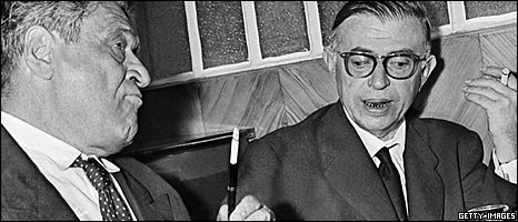 Jean-Paul Sartre (right)