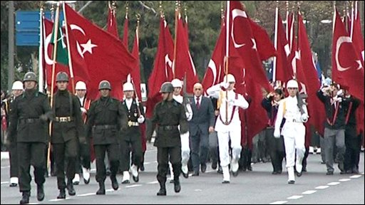 Turkey troops marching