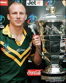 Darren Lockyer with the World Cup