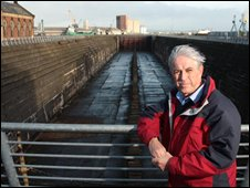 Mike McKimm beside the Thompson Dry Dock in Belfast