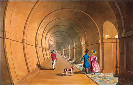 Illustration showing interior of the Thames Tunnel, mid-19th century