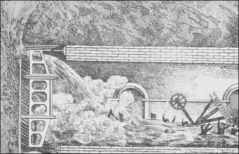 Engraving showing miners swept away by water