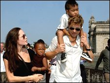 Jolie and Pitt with children Zahara and Maddox