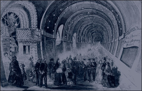 Crowds at the Fancy Fair in the Thames Tunnel