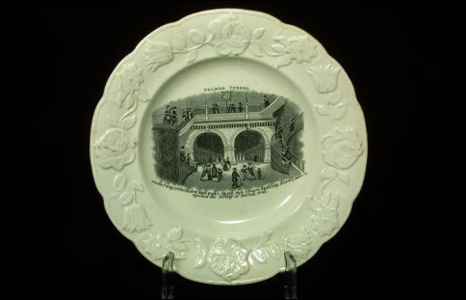 Victorian souvenir plate showing an image of the Thames Tunnel