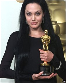 Jolie with her best actress Oscar in 2000