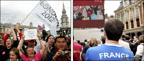 The 2012 bid decision is announced in London (left) and France